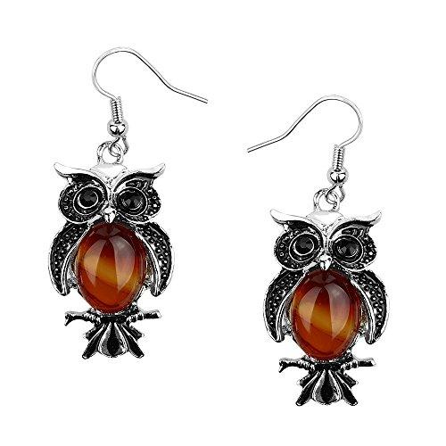 Stone Earrings Agate (Liavy's Owl Fashionable Gemstone Earrings - Fish Hook - Red Agate Stone)