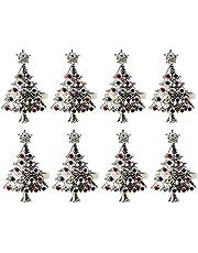 Betos Świąteczne pierścienie na serwetki, wielokrotnego użytku metalowa klamra na serwetkę choinkę uchwyt na klamrę na Nowy Rok Boże Narodzenie dekoracja stołu (zestawy 8)