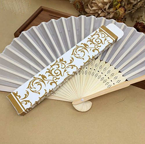 Beige 30Pcs/Lot Hot Sell Beautiful Gift Box (Gold, Silver) Personalized Fabric Folding Held Hand Fan For Wedding by Hand Fan