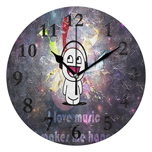 - NMCEO Round Wall Clock Wallpaper I Love Music It Makes Me Happy Acrylic Original Clock for Home Decor Creative