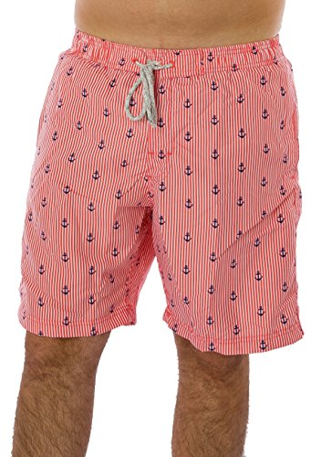 [Exist Anchor Print Men's Swim Trunks (XX-Large, Coral)] (Pink Man Suit)