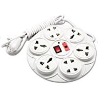 MoreBlue 8+1 Round Strip Extension Cord 6 Amp 8 Universal Multi Plug Point (4 Three pin and 4 Two pin sockets) Extension Board 2 Yard with LED Indicator, Switch and Fuse
