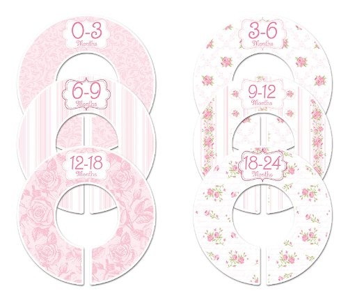Closet Doodles C102 Roses Girl Baby Clothing Dividers Set of 6 Fits 1.25inch Rod
