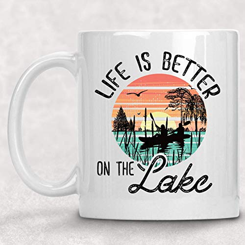 Life is Better on the Lake Retro Mug Fishing Gift for Him or Her Coffee Cup