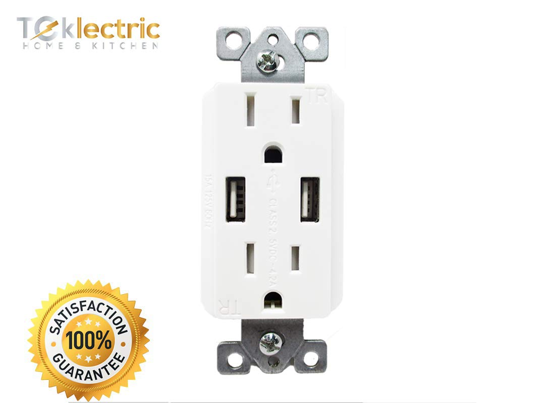White 10 Pack USB Outlet Teklectric 4.2A High Speed Dual USB Receptacle 15A Tamper Resistant Receptacle /& Free Wall Plate