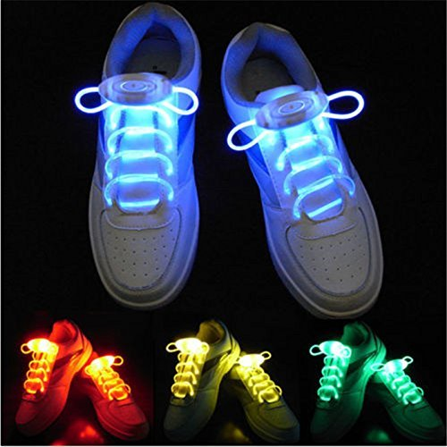 Teanfa 5 Pairs Light Up LED Shoelaces 3 Blinking Modes in 5 Colors Flash Party Shoe Laces Strings Christmas Fancy Gift