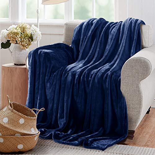 - Reafort Ultra Soft Flannel Fleece Royal Plush Velvet Lightweight Living Room/Bedroom Warm Blanket (Blue, Throw 50