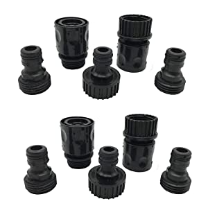 Plastic Garden Hose Connector Set Male and Female - Quick Release Connect Kit, Water Hose Thread Fitting Adapter Set, from Quick Connector to Standard 3/4'' Thread Connector (Black, 2 Sets / 10 Pc)