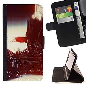 For LG G2 D800 Case , Viñeta fotografía Luces Vida Nocturna- la tarjeta de Crédito Slots PU Funda de cuero Monedero caso cubierta de piel