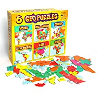 GeoToys - 6 GeoPuzzles Set in One Box - Educational Kid Toys for Boys and Girls, 50+ Piece Geography Jigsaw Puzzles, Jumbo Size Kids Puzzles - Ages 4 and up