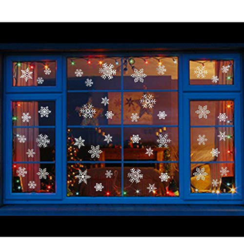 Uimiqc Glitter Snowflake Window Clings 114 pcs Reusable Sparkly Static Window Clings for Christmas Holiday Winter Window Decorations Multi-Size (Silver, 114 pcs) ()