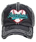 Women's Love Baseball Washed Vintage Baseball Hat Cap (Black)