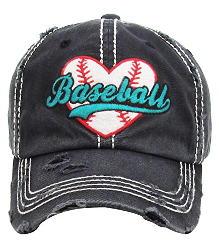 Women's Love Baseball Washed Vintage Baseball Hat Cap (Black)