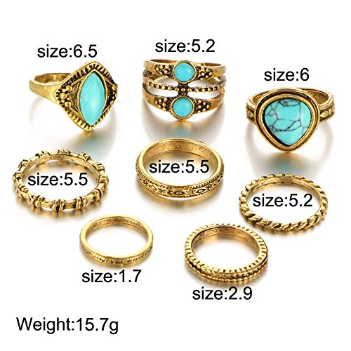 Turkish Filigree - 8PCS Turquoise Vintage Filigree Turkish Joint Knuckle Rings Tribal Carved Stacking Midi Knuckle Ring Set Jewelry