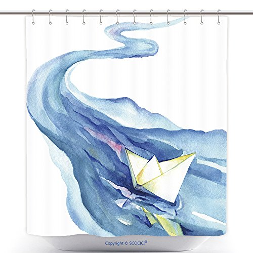 Mildew Resistant Shower Curtains White Paper Boat Floating In The Water Watercolor Painting Of The River And Ship On A White 353440148 Polyester Bathroom Shower Curtain Set With Hooks