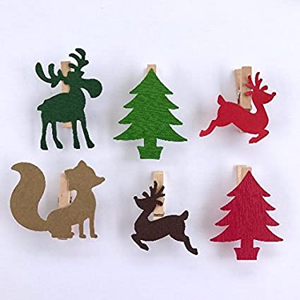 reindeer fox moose clothespins christmas decoration paper cutouts kit gift wrapping clips pins holiday games