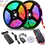 LED Strip Lights,NightScene 32.8FT LED Music Sync Color Changing Lights with 40keys Music Remote Controller and 12V5APower Supply, RGB SMD5050 300 led lights for Room, Bedroom, TV, Party.: more info