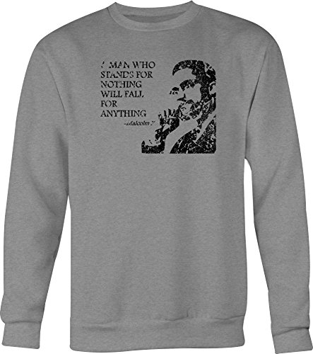 - One Stop Services Malcolm X Man who Stands for Nothing Crewneck Shirt for Men- Medium