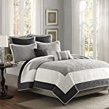 Madison Park Attingham Full/Queen Size Quilt Bedding Set - Grey, Patterned Colorblock – 7 Piece Bedding Quilt Coverlets – Ultra Soft Microfiber Bed Quilts Quilted Coverlet