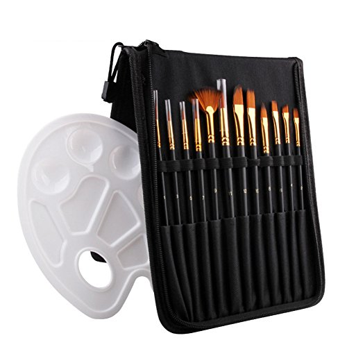 Paint Brush Set, 12 Pieces Professional Watercolor Brush Set with 1 Paint Palette and Carry Case, Paint Brushes for Watercolor Oil Acrylic Painting(Black)