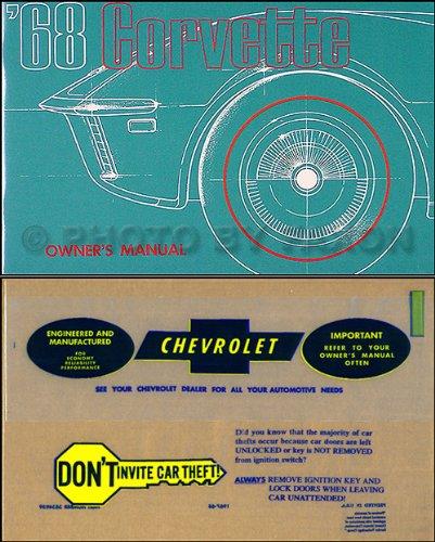 1968 Corvette Owner's Manual - Corvette Stingray Chevrolet 1968