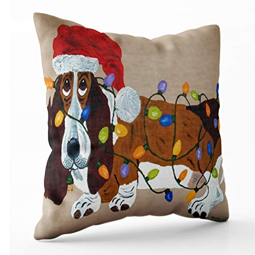 Shorping Zippered Pillow Covers Pillowcases 18X18 Inch Basset Tangled in Christmas Lights Decorative Throw Pillow Cover,Pillow Cases Cushion Cover for Home Sofa Bedding Bed Car Seats Decor