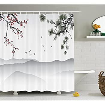 House Decor Shower Curtain Set By Ambesonne Chinese Painting Style Artwork With Tree Branches Birds