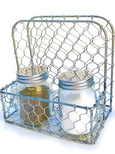(Napkin Holder and Salt & Pepper Set, Rustic Farmhouse Chicken-wire Design with Mason Jar Shakers with Handles)