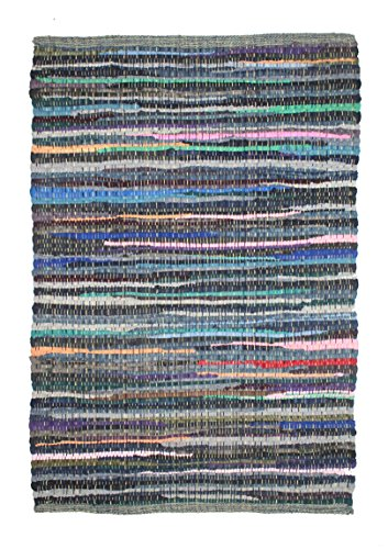 Cotton Craft - Hand Woven Reversible 100% Cotton Multi Color Chindi Rug - 30 x 48 Inches - Rug is Made from Multi Color re-cycled Yarns, Actual Product May Vary in Color from The Image Shown (Rug Jute Fake)