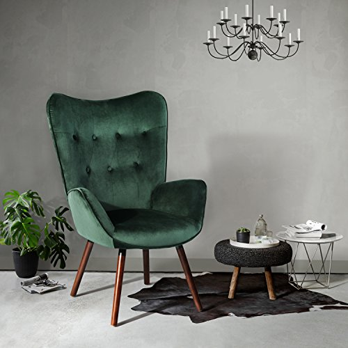 HOMY CASA Living Room Accent Armrest Lounge Chair Velvet Upholstery & Button Tufted -Green (Green-Velvet)