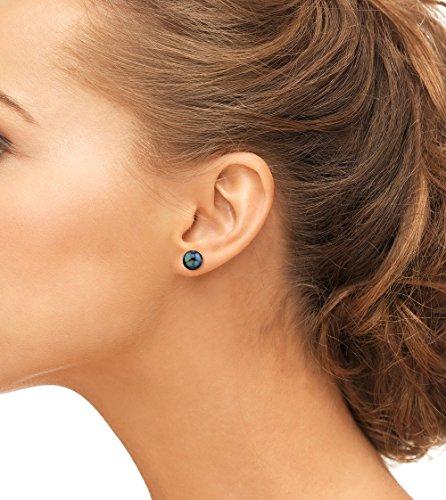 14K Gold Screwback 8.0-8.5mm Black Akoya Cultured Pearl Stud Earrings - AAA Quality by The Pearl Source (Image #1)