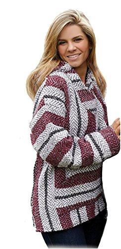 Baja Joe Striped Woven Eco-Friendly Jacket Coat Hoodie (Burgundy, XXX-Large)
