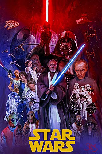 Artist Signed Star Wars A New Hope Print Poster 11x17 Darth Vader Luke Skywalker Han Solo by Mark Spears ()