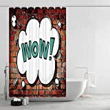 TecBillion Rustic Home Decor Comfortable Shower Curtain Red Cracked Brick Wall British Backdrop UK English Pop Art Cloud 90s Grunge for Showers Stalls and Bathtubs 43.31 W x 78.74 H
