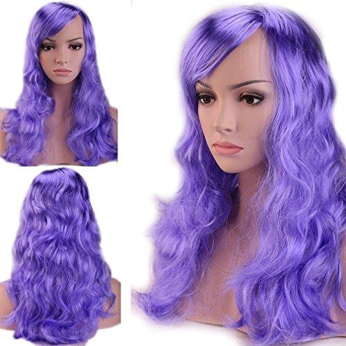 S-noilite Curly Blue Purple Costume Full Wig Lady Women Fancy Dress USPS Mail (Womens Fancy Dress Wigs)