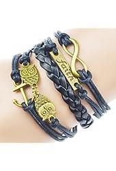 Jiayiqi Women Girl Hot Selling Fashion Multilayer Rope Leather Bracelet Cuff Bangle