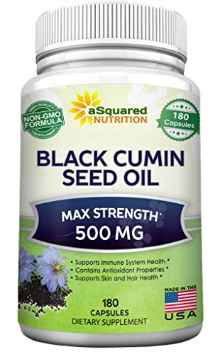 Pure Black Cumin Seed Oil 500mg - 180 Capsules - Cold Pressed Black Seed Oil (Nigella Sativa) Supplement Pills to Support Skin & Hair Health - Virgin & First Pressing - Non-GMO