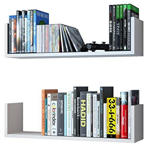 Wallniture U Shape Wall Mount Floating Wood Book Shelves Media Storage White Set of 2 -