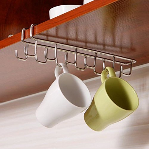 Stainless Steel 12 Hook Under Shelf Mugs Cups Wine Glasses Storage Drying Holder Rack, Rustproof Cabinet Hanging Organizer Rack for Ties And Belts