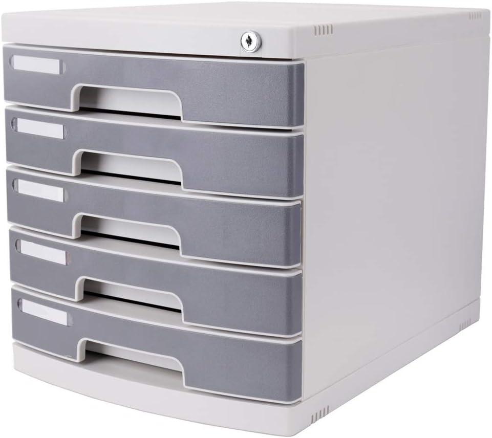 ファイルボックス プラスチック引出しキャビネットオフィス文具ファイリングキャビネットキャビネットオフィス用ロック付き5層多目的