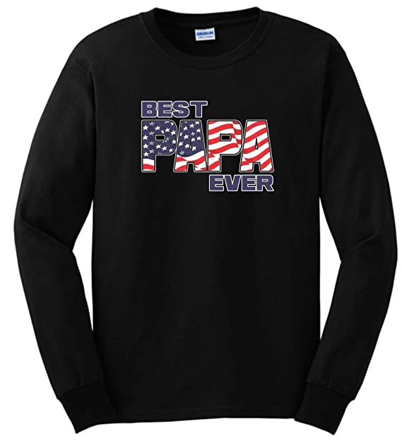 1fa9a6df Red White & Blue American Flag Clothes for Men Best Papa Ever US Flag  Apparel Papa