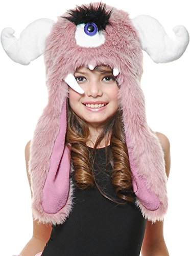 Cyclops Costumes Dress Fancy (Child Girls Pink Furry Plush Horned Cyclops Monster)