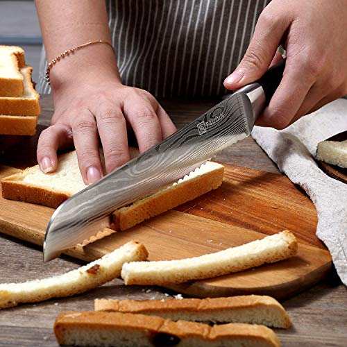 PAUDIN 8 Inch Serrated Bread Knife Cake Slicer Knife, German High Carbon Stainless Steel Knife Kitchen Knife for Cutting Crusty Breads, Cake by PAUDIN (Image #7)