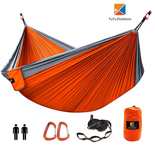TuTu Outdoors XL Double Camping Hammock, Ultralight Soft Silky Nylon Portable Hammock Hanging Bed With 10ft Tree Straps with Loops Carabiners for Backpacking Travel, Patio, Beach, Yard 130