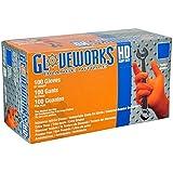 AMMEX - GWON48100-BX - Nitrile Gloves - Gloveworks - Heavy Duty, Disposable, Powder Free,  Latex Rubber Free, 8 mil, XLarge, Orange (Box of 100)