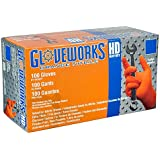 AMMEX - GWON46100-BX - Nitrile Gloves - Gloveworks - Heavy Duty, Disposable, Powder Free,  Latex Rubber Free, 8 mil, Large, Orange (Box of 100)