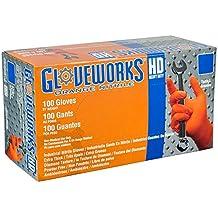 AMMEX - GWON44100-BX - Nitrile Gloves - Gloveworks - Heavy Duty, Disposable, Powder Free,  Latex Rubber Free, 8 mil, Medium, Orange (Box of 100)