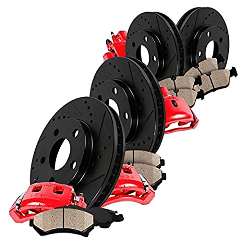 CCK01866 FRONT + REAR Powder Coated Red [4] Calipers + [4] Black D/S Rotors + Quiet Low Dust [8] Ceramic - Black 4 Piston Calipers