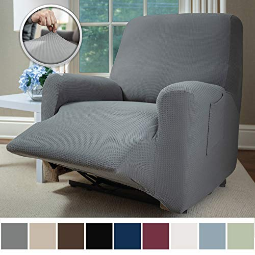 Sofa Shield Original Fitted 1 Piece Recliner Protector, Seat Width up to 28 Inch, Stretch Furniture Slipcover, Fastener Straps, Spandex Reclining Chair Slip Cover Throw for Pets, Dogs, Recliner, Gray