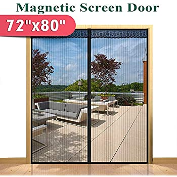 72 W X 80 H Hands Free Magnetic Screen Door For Sliding French